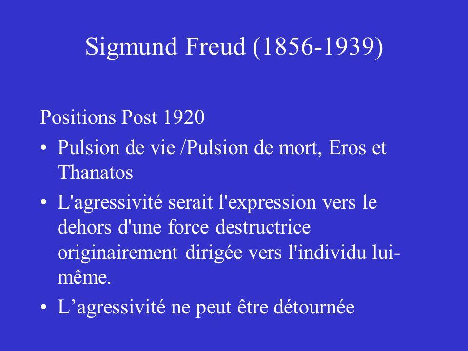 Sigmund Freud (1856-1939) Positions Post 1920 Pulsion de vie /Pulsion de mort, Eros et Thanatos L'agressivité serait l'expression vers le dehors d'une