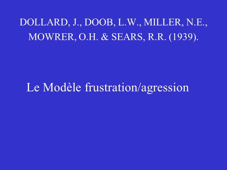Le Modèle frustration/agression DOLLARD, J., DOOB, L.W., MILLER, N.E., MOWRER, O.H. & SEARS, R.R. (1939).