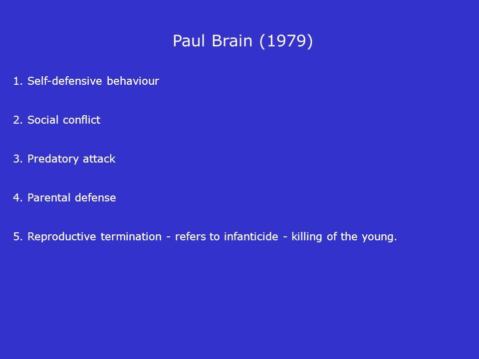 1. Self-defensive behaviour 2. Social conflict 3. Predatory attack 4. Parental defense 5. Reproductive termination - refers to infanticide - killing o