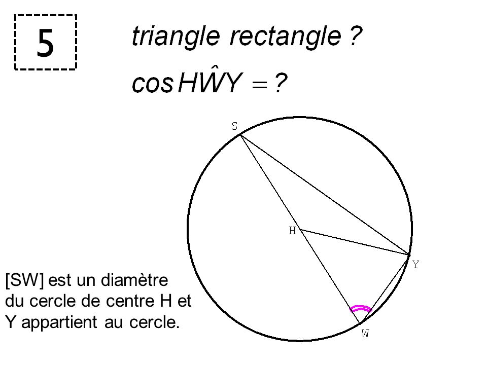 5 [SW] est un diamètre du cercle de centre H et Y appartient au cercle. CORRECTION