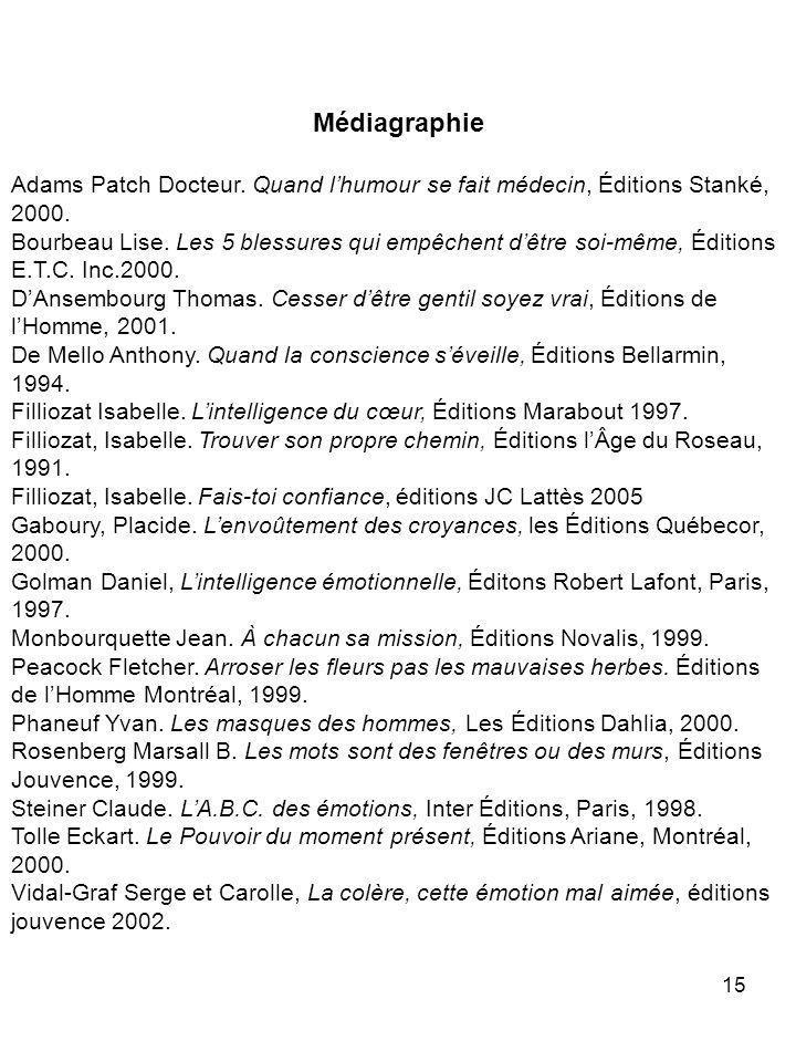 15 Médiagraphie Adams Patch Docteur. Quand lhumour se fait médecin, Éditions Stanké, 2000. Bourbeau Lise. Les 5 blessures qui empêchent dêtre soi-même