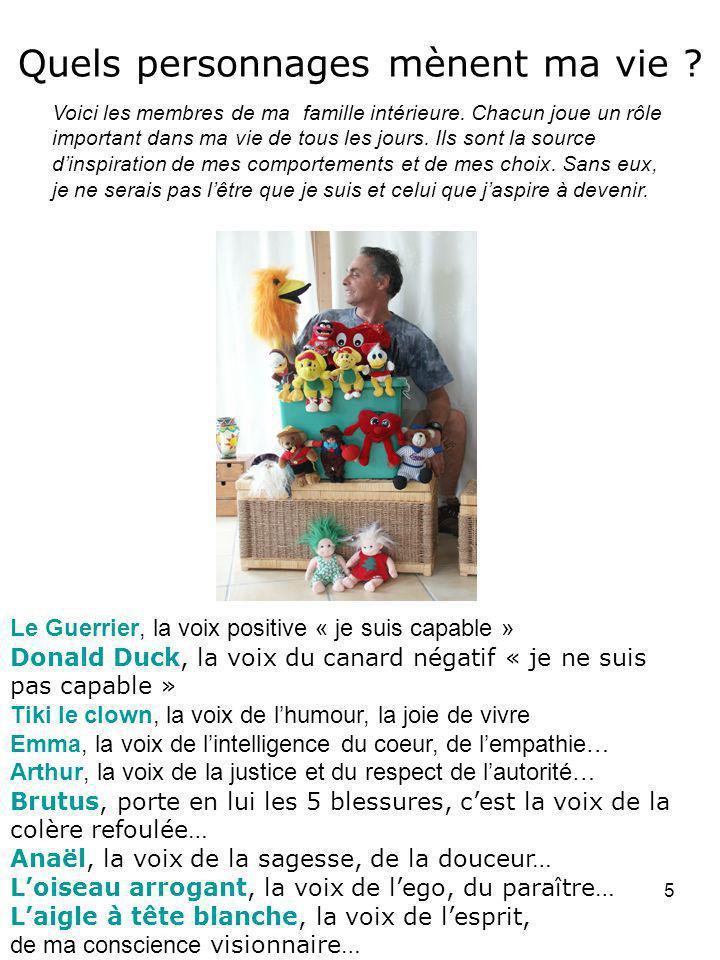 5 Quels personnages mènent ma vie ? Le Guerrier, la voix positive « je suis capable » Donald Duck, la voix du canard négatif « je ne suis pas capable
