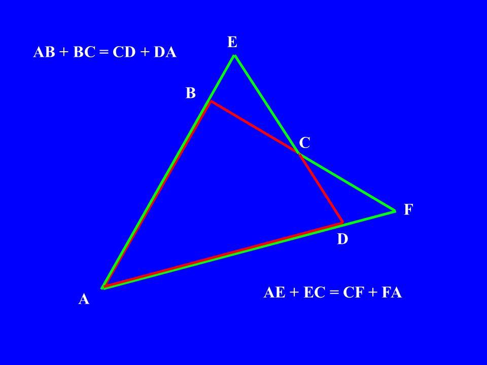 A C B F E D AB + BC = CD + DA AE + EC = CF + FA