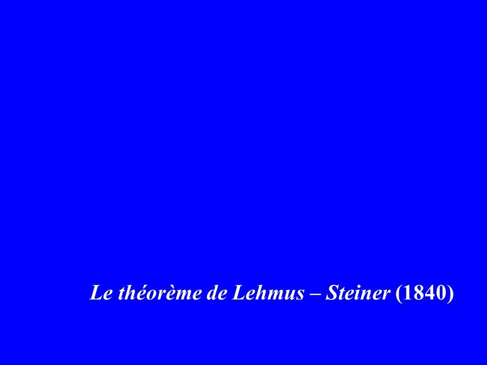 Le théorème de Lehmus – Steiner (1840)