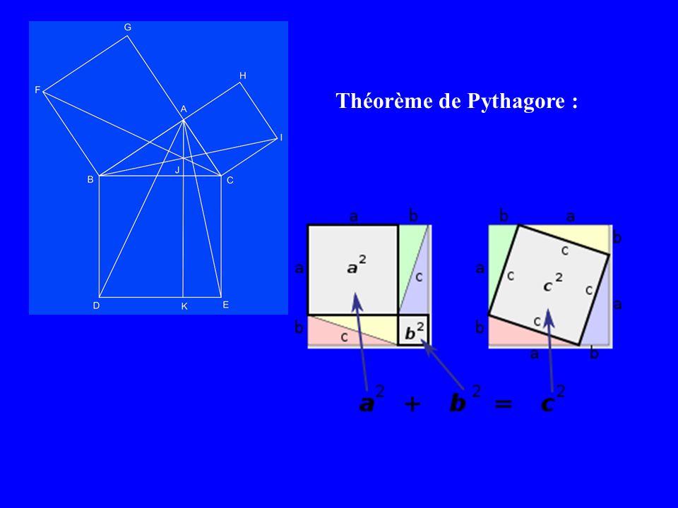 Théorème de Pythagore :