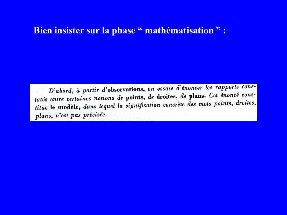 Bien insister sur la phase mathématisation :