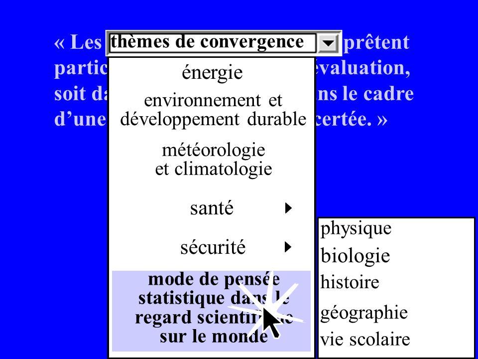 « Les thèmes de convergence se prêtent particulièrement bien à une évaluation, soit dans la discipline, soit dans le cadre dune pluridisciplinarité concertée.