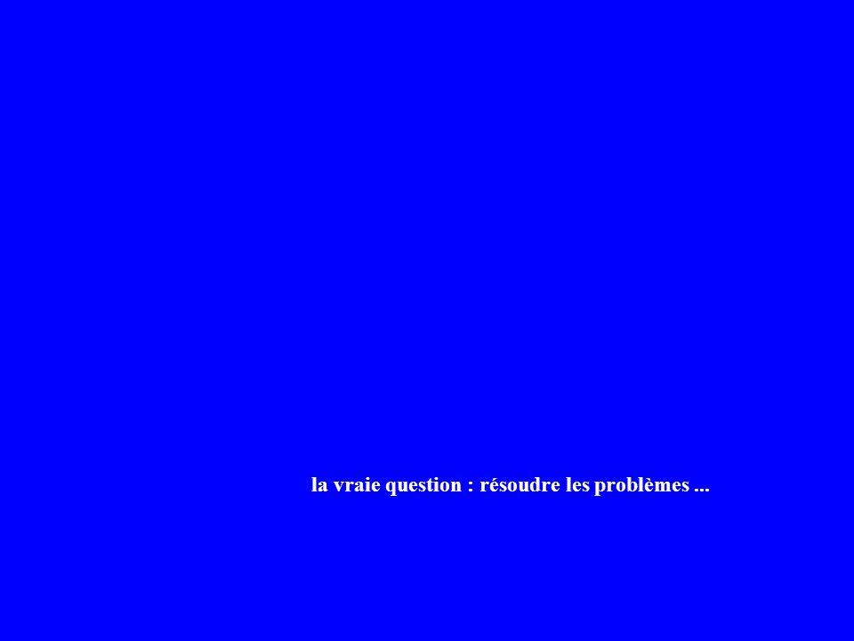 la vraie question : résoudre les problèmes...