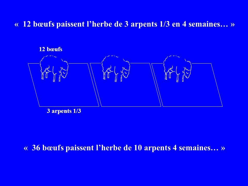 « 12 bœufs paissent lherbe de 3 arpents 1/3 en 4 semaines… » « 36 bœufs paissent lherbe de 10 arpents 4 semaines… » 3 arpents 1/3 12 bœufs