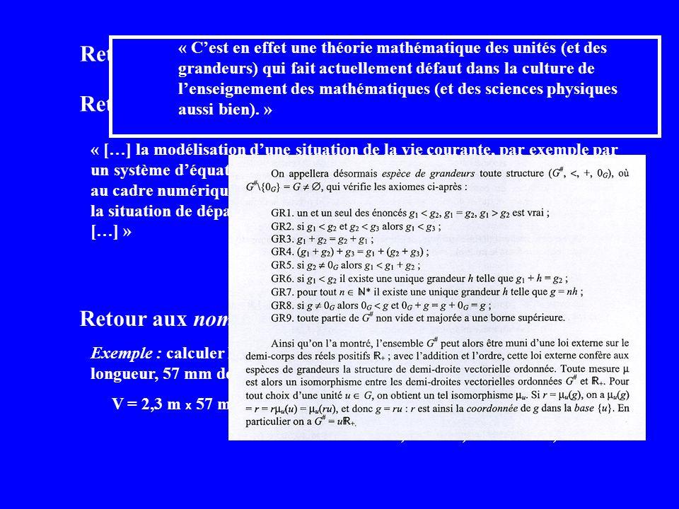 Retour aux problèmes … Retour aux nombres concrets… Retour aux grandeurs… « […] la modélisation dune situation de la vie courante, par exemple par un système déquations […] correspond au passage du cadre des grandeurs au cadre numérique.
