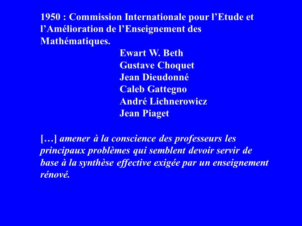 1950 : Commission Internationale pour lEtude et lAmélioration de lEnseignement des Mathématiques.
