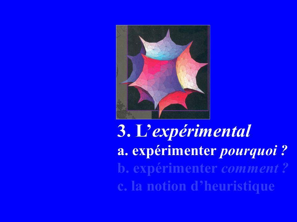 3. Lexpérimental a. expérimenter pourquoi b. expérimenter comment c. la notion dheuristique
