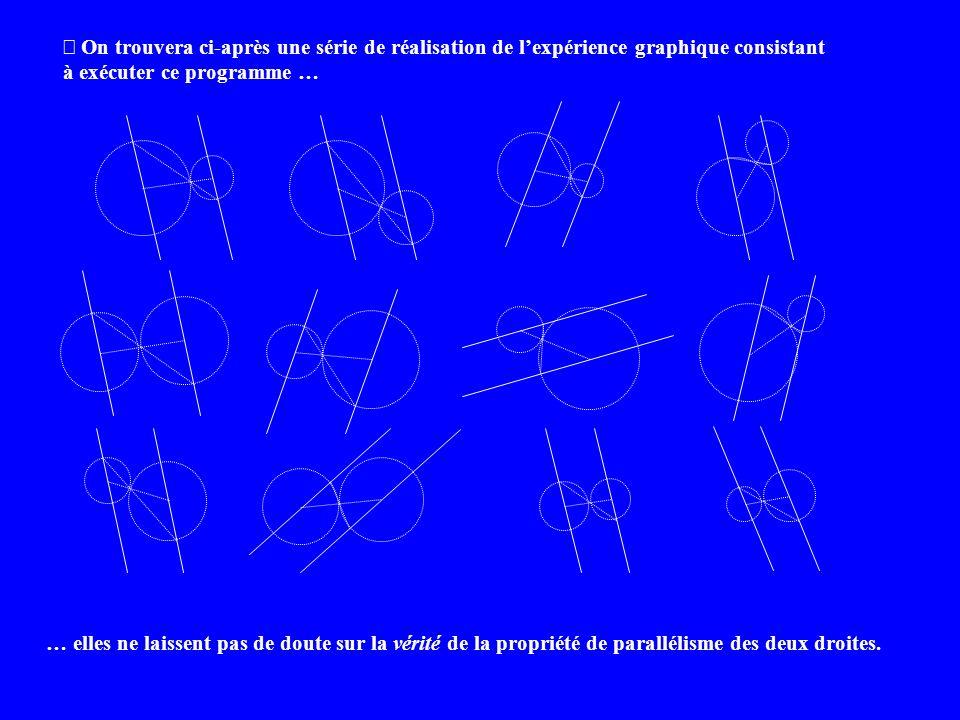 On trouvera ci-après une série de réalisation de lexpérience graphique consistant à exécuter ce programme … … elles ne laissent pas de doute sur la vérité de la propriété de parallélisme des deux droites.