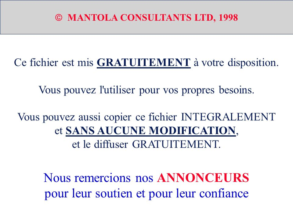 SCENARIO AF-20 CAS D UTILISATION COLLABORATION DIAGRAMME COLLABORATION Instanciation 1 2 3 1 2 3 UML (Unified Modeling Language) Copyright - MANTOLA CONSULTANTS LTD - 1998