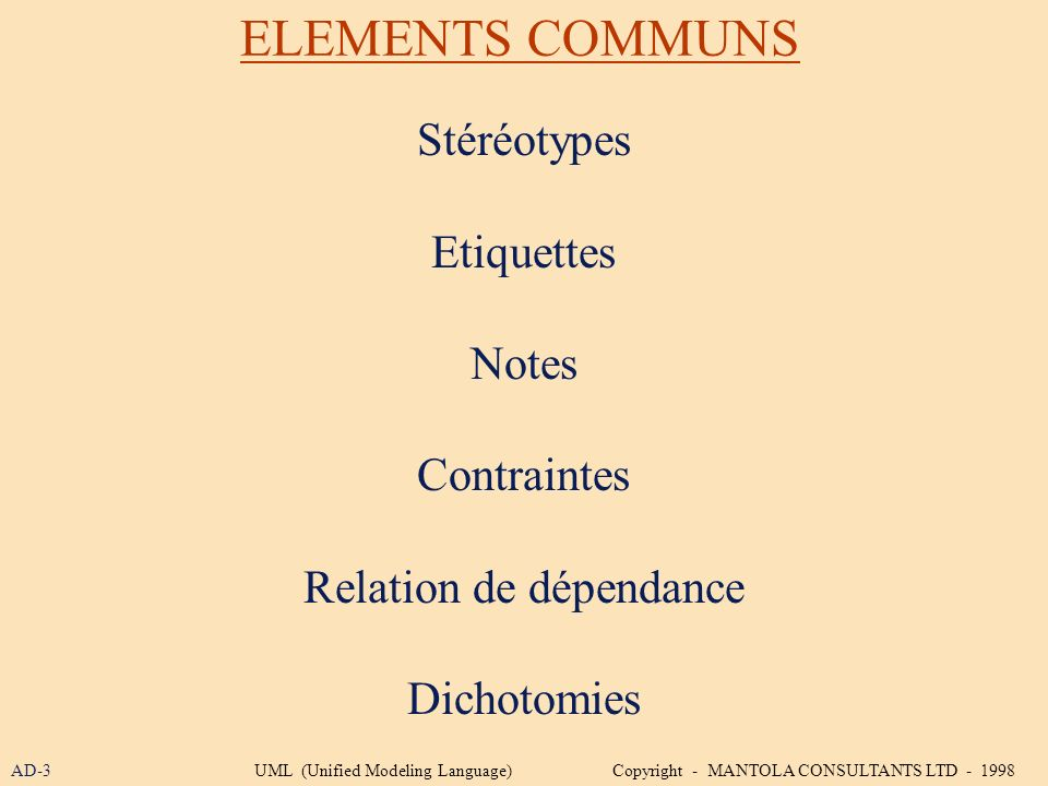 ELEMENTS COMMUNS Stéréotypes Etiquettes Notes Contraintes Relation de dépendance Dichotomies AD-3UML (Unified Modeling Language) Copyright - MANTOLA C