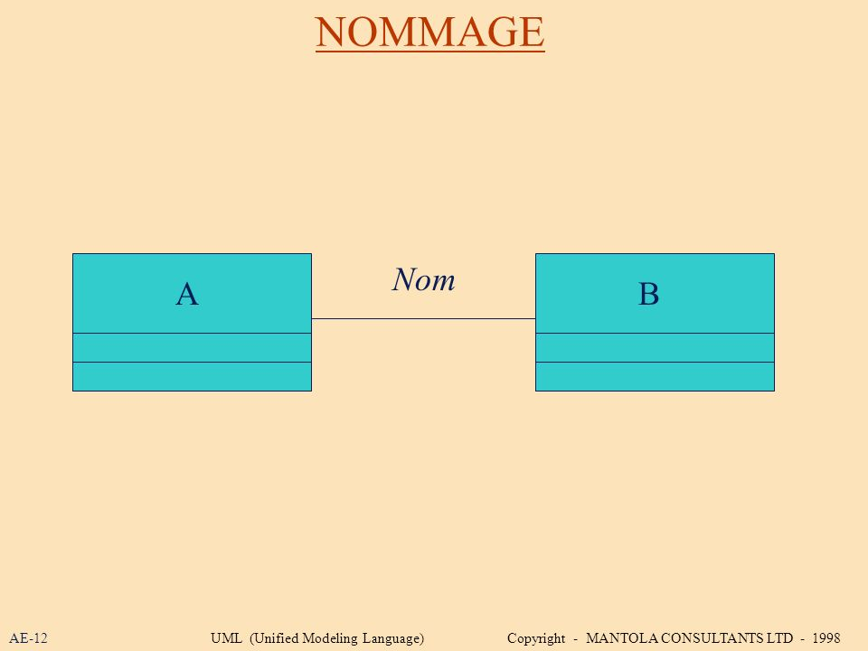 NOMMAGE AB Nom AE-12UML (Unified Modeling Language) Copyright - MANTOLA CONSULTANTS LTD - 1998