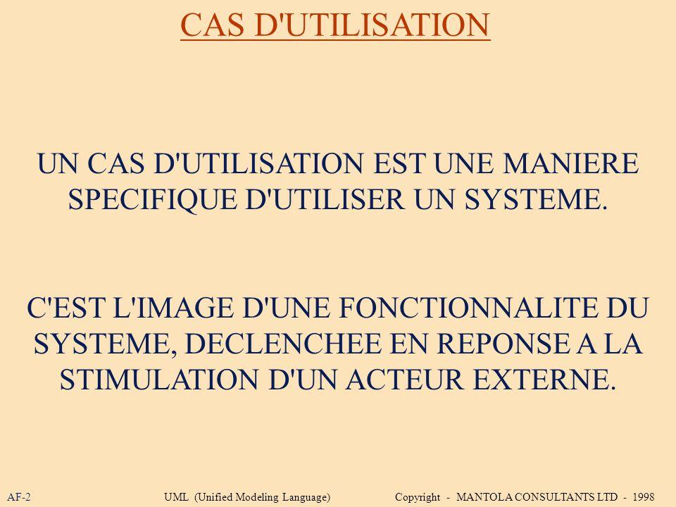 CAS D'UTILISATION UN CAS D'UTILISATION EST UNE MANIERE SPECIFIQUE D'UTILISER UN SYSTEME. C'EST L'IMAGE D'UNE FONCTIONNALITE DU SYSTEME, DECLENCHEE EN
