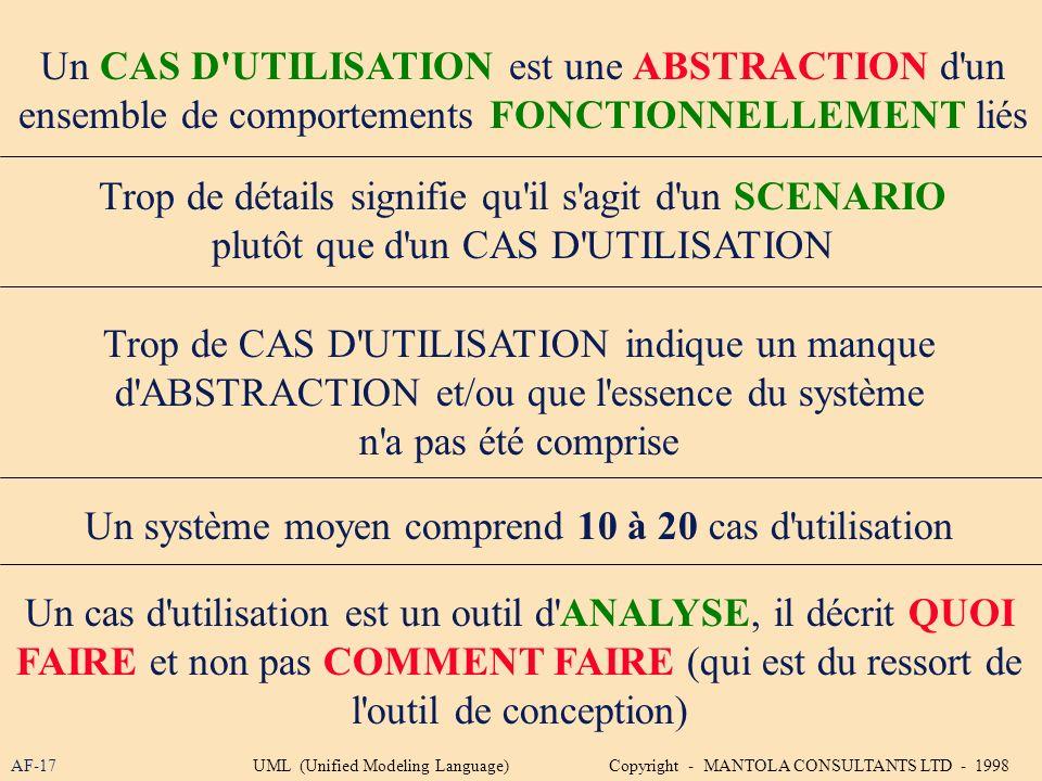 AF-17 Un CAS D'UTILISATION est une ABSTRACTION d'un ensemble de comportements FONCTIONNELLEMENT liés Trop de détails signifie qu'il s'agit d'un SCENAR