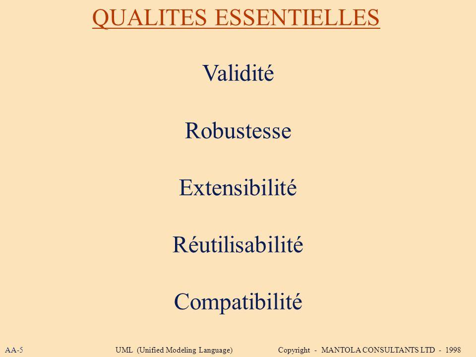 Validité Robustesse Extensibilité Réutilisabilité Compatibilité QUALITES ESSENTIELLES AA-5UML (Unified Modeling Language) Copyright - MANTOLA CONSULTA