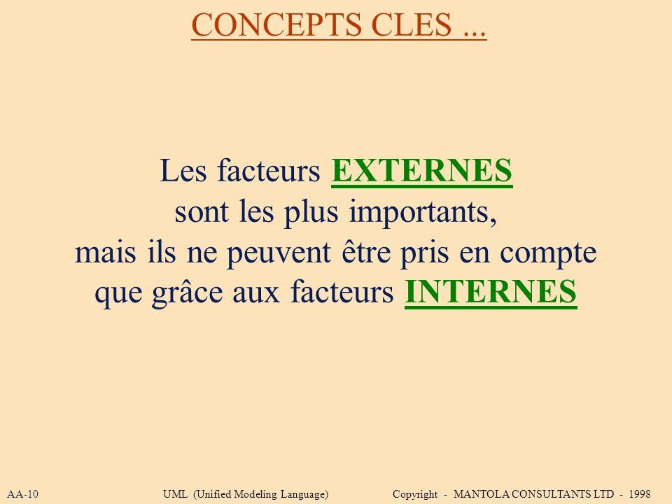 Les facteurs EXTERNES sont les plus importants, mais ils ne peuvent être pris en compte que grâce aux facteurs INTERNES CONCEPTS CLES... AA-10UML (Uni