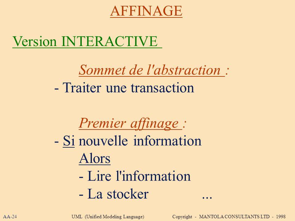 Sommet de l'abstraction : - Traiter une transaction Premier affinage : - Si nouvelle information Alors - Lire l'information - La stocker... AFFINAGE V