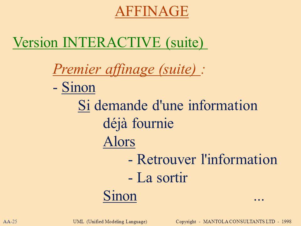 Premier affinage (suite) : - Sinon Si demande d'une information déjà fournie Alors - Retrouver l'information - La sortir Sinon... AFFINAGE Version INT
