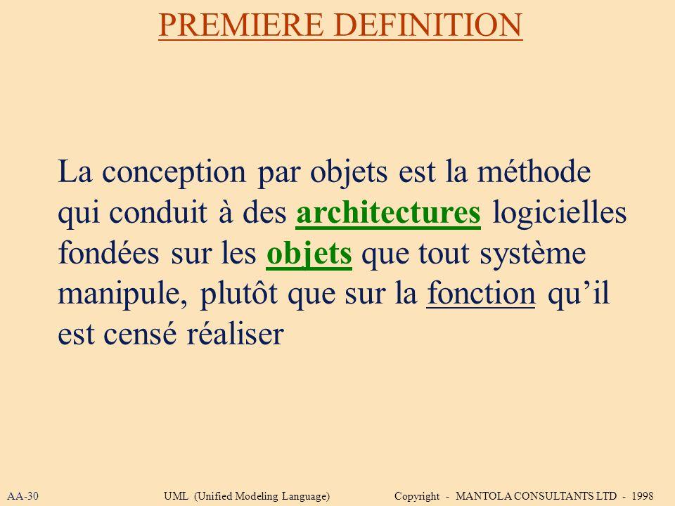 La conception par objets est la méthode qui conduit à des architectures logicielles fondées sur les objets que tout système manipule, plutôt que sur l