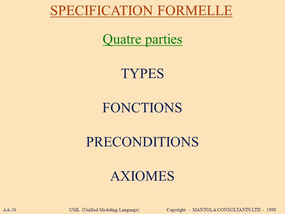 Quatre parties TYPES FONCTIONS PRECONDITIONS AXIOMES SPECIFICATION FORMELLE AA-36UML (Unified Modeling Language) Copyright - MANTOLA CONSULTANTS LTD -