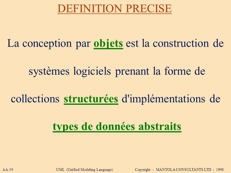 La conception par objets est la construction de systèmes logiciels prenant la forme de collections structurées d'implémentations de types de données a