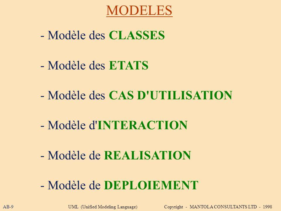 MODELES - Modèle des CLASSES - Modèle des ETATS - Modèle des CAS D'UTILISATION - Modèle d'INTERACTION - Modèle de REALISATION - Modèle de DEPLOIEMENT