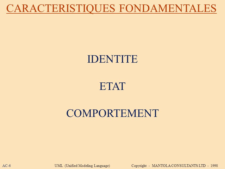 CARACTERISTIQUES FONDAMENTALES IDENTITE ETAT COMPORTEMENT AC-6UML (Unified Modeling Language) Copyright - MANTOLA CONSULTANTS LTD - 1998