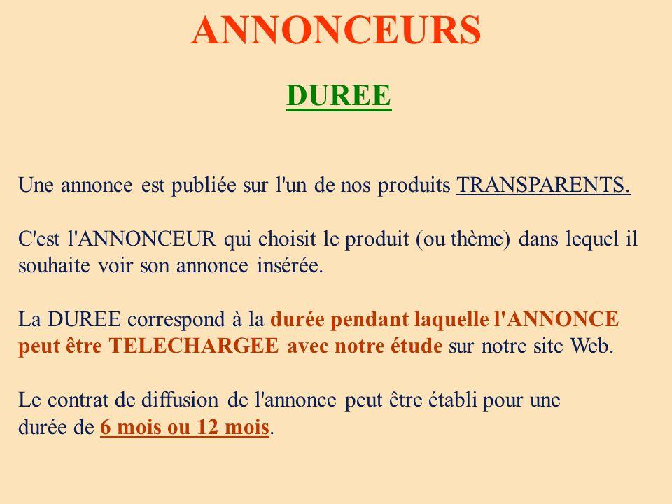 ANNONCEURS DUREE Une annonce est publiée sur l'un de nos produits TRANSPARENTS. C'est l'ANNONCEUR qui choisit le produit (ou thème) dans lequel il sou