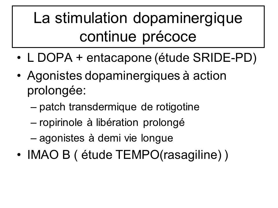 La stimulation dopaminergique continue précoce L DOPA + entacapone (étude SRIDE-PD) Agonistes dopaminergiques à action prolongée: –patch transdermique