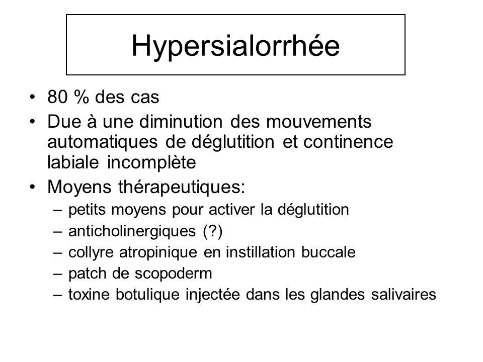 Hypersialorrhée 80 % des cas Due à une diminution des mouvements automatiques de déglutition et continence labiale incomplète Moyens thérapeutiques: –