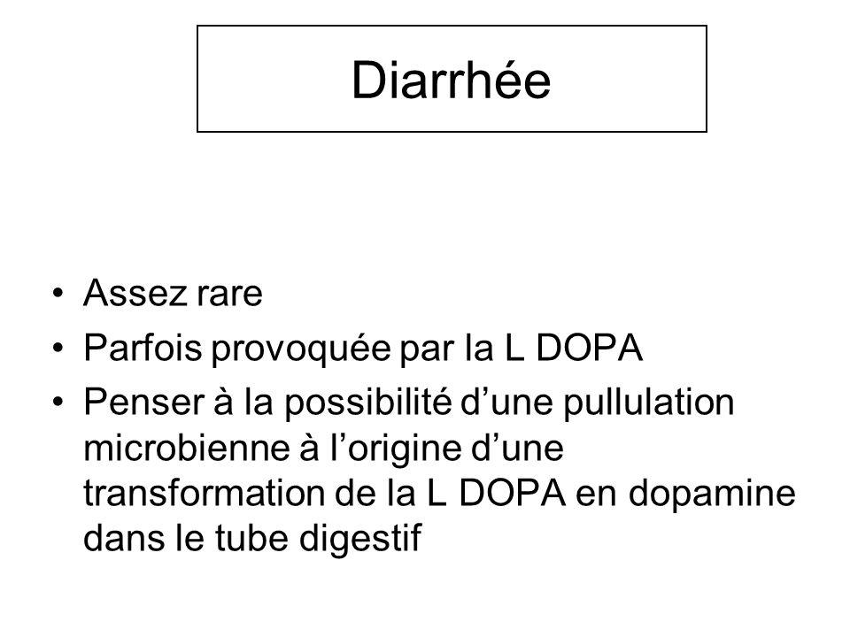 Diarrhée Assez rare Parfois provoquée par la L DOPA Penser à la possibilité dune pullulation microbienne à lorigine dune transformation de la L DOPA e