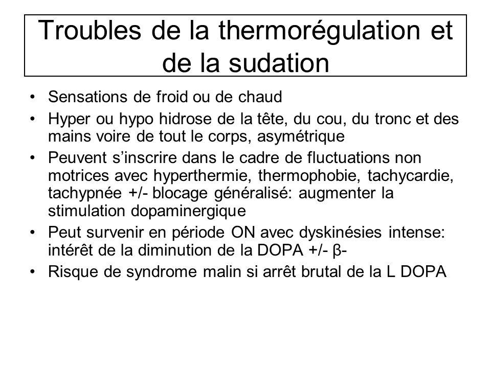 Troubles de la thermorégulation et de la sudation Sensations de froid ou de chaud Hyper ou hypo hidrose de la tête, du cou, du tronc et des mains voir