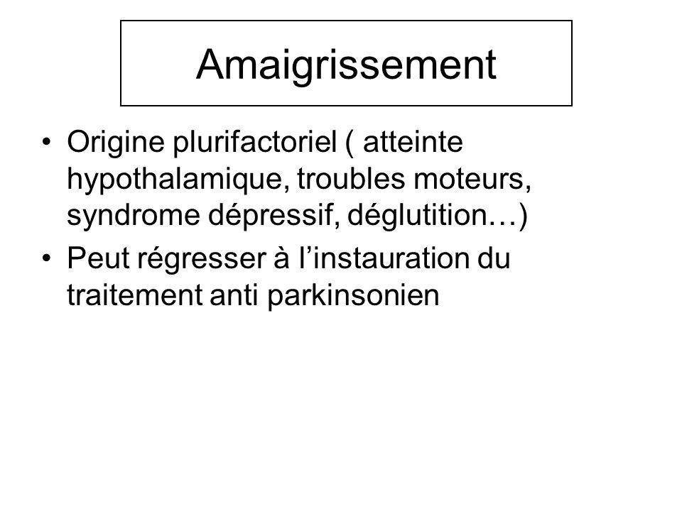 Amaigrissement Origine plurifactoriel ( atteinte hypothalamique, troubles moteurs, syndrome dépressif, déglutition…) Peut régresser à linstauration du