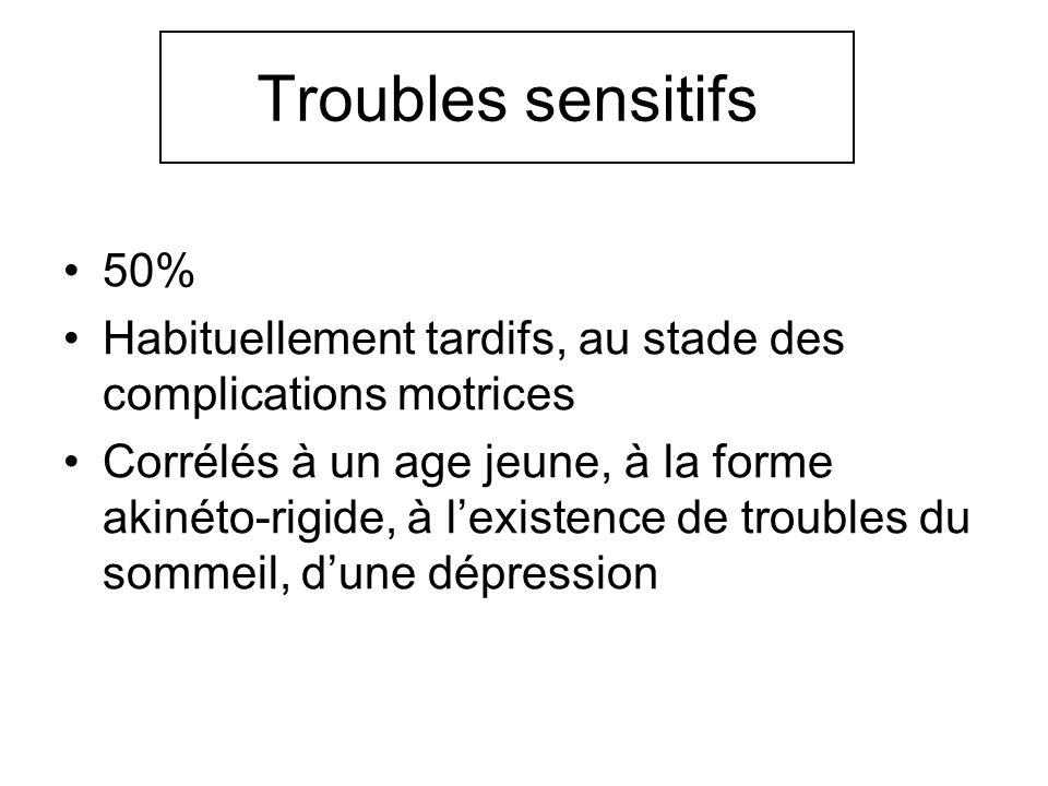 Troubles sensitifs 50% Habituellement tardifs, au stade des complications motrices Corrélés à un age jeune, à la forme akinéto-rigide, à lexistence de