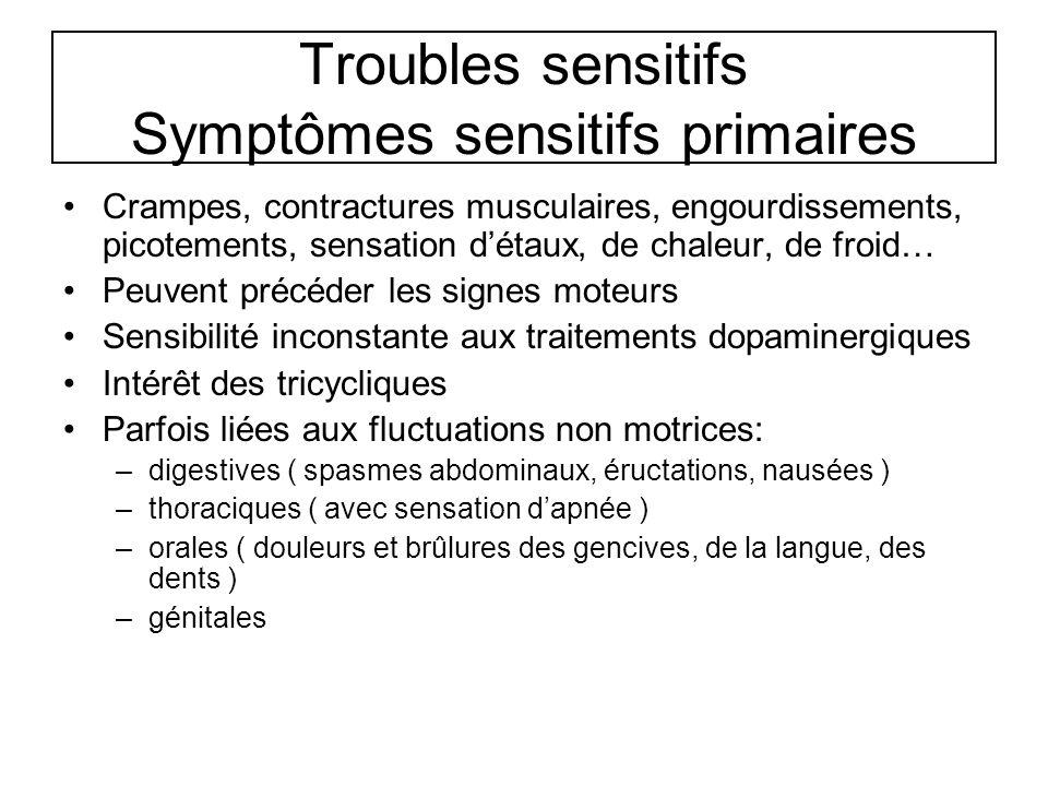 Troubles sensitifs Symptômes sensitifs primaires Crampes, contractures musculaires, engourdissements, picotements, sensation détaux, de chaleur, de fr