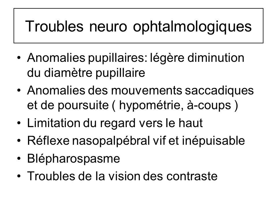 Troubles neuro ophtalmologiques Anomalies pupillaires: légère diminution du diamètre pupillaire Anomalies des mouvements saccadiques et de poursuite (