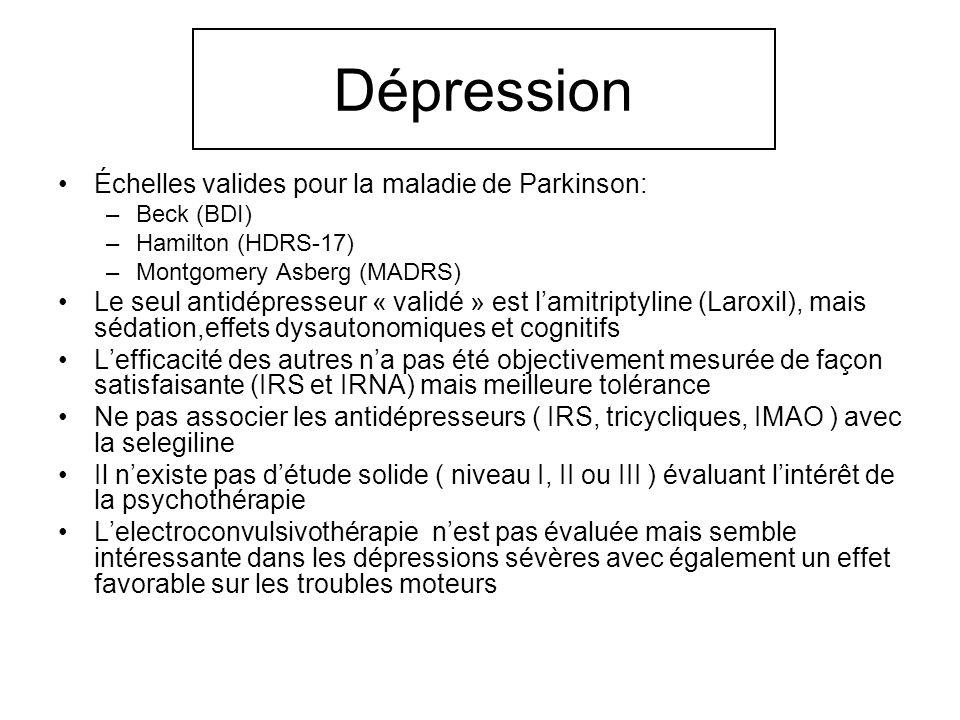 Dépression Échelles valides pour la maladie de Parkinson: –Beck (BDI) –Hamilton (HDRS-17) –Montgomery Asberg (MADRS) Le seul antidépresseur « validé »