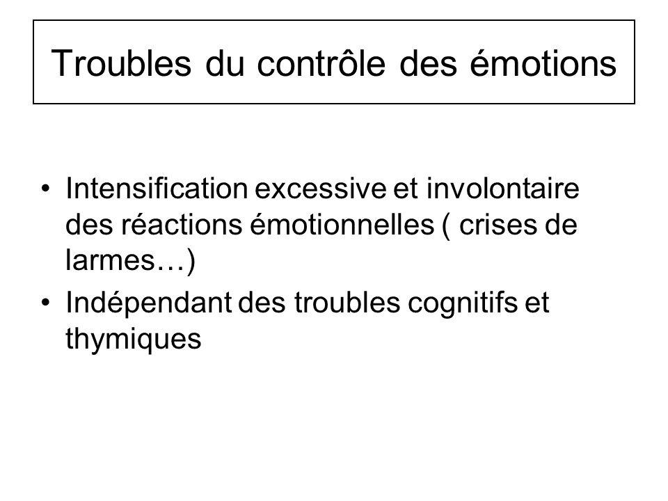 Troubles du contrôle des émotions Intensification excessive et involontaire des réactions émotionnelles ( crises de larmes…) Indépendant des troubles
