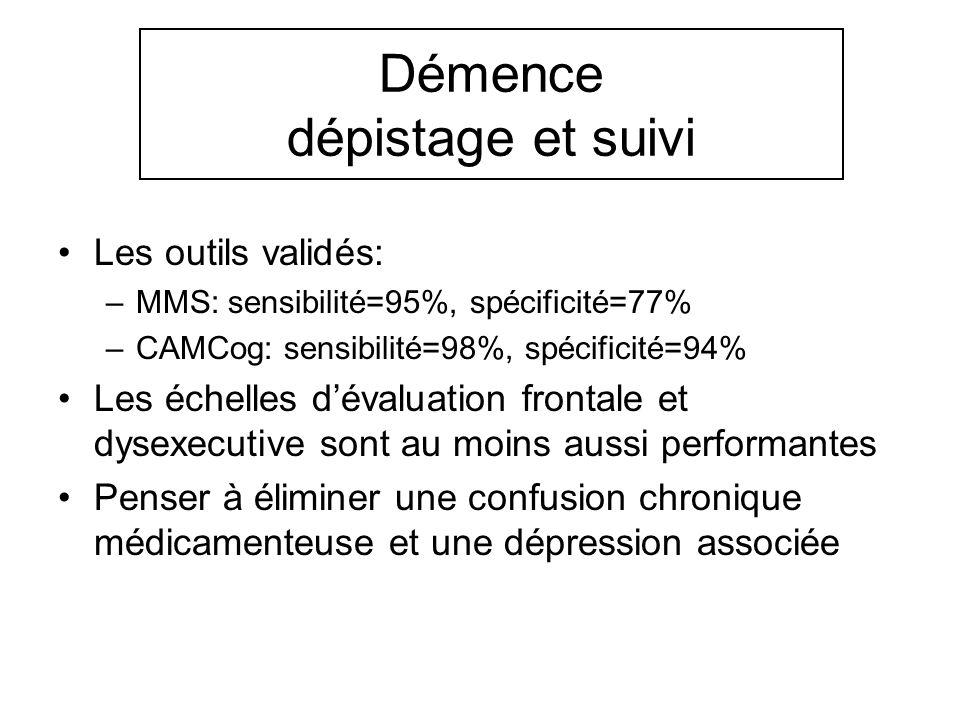 Démence dépistage et suivi Les outils validés: –MMS: sensibilité=95%, spécificité=77% –CAMCog: sensibilité=98%, spécificité=94% Les échelles dévaluati