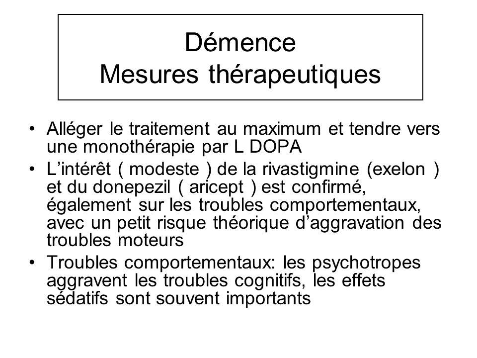 Démence Mesures thérapeutiques Alléger le traitement au maximum et tendre vers une monothérapie par L DOPA Lintérêt ( modeste ) de la rivastigmine (ex