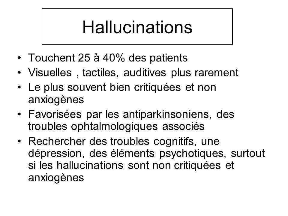 Hallucinations Touchent 25 à 40% des patients Visuelles, tactiles, auditives plus rarement Le plus souvent bien critiquées et non anxiogènes Favorisée