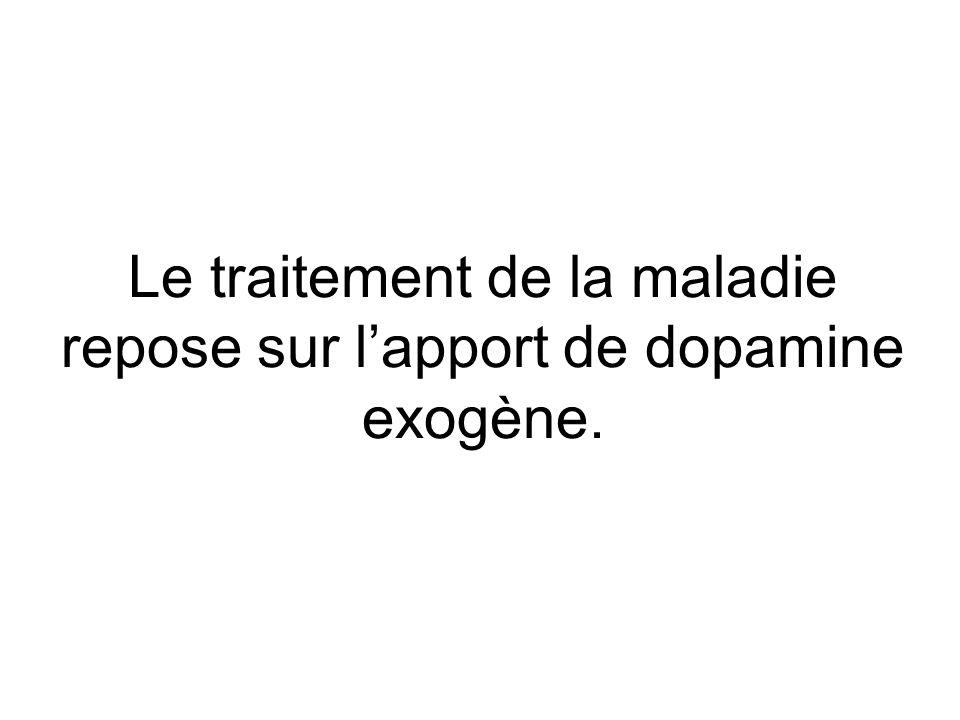 Le traitement de la maladie repose sur lapport de dopamine exogène.
