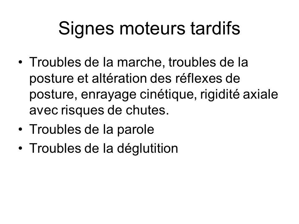 Signes moteurs tardifs Troubles de la marche, troubles de la posture et altération des réflexes de posture, enrayage cinétique, rigidité axiale avec r