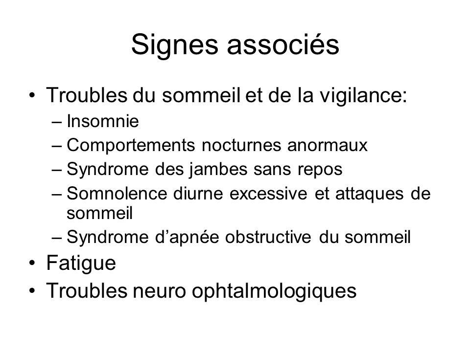 Signes associés Troubles du sommeil et de la vigilance: –Insomnie –Comportements nocturnes anormaux –Syndrome des jambes sans repos –Somnolence diurne