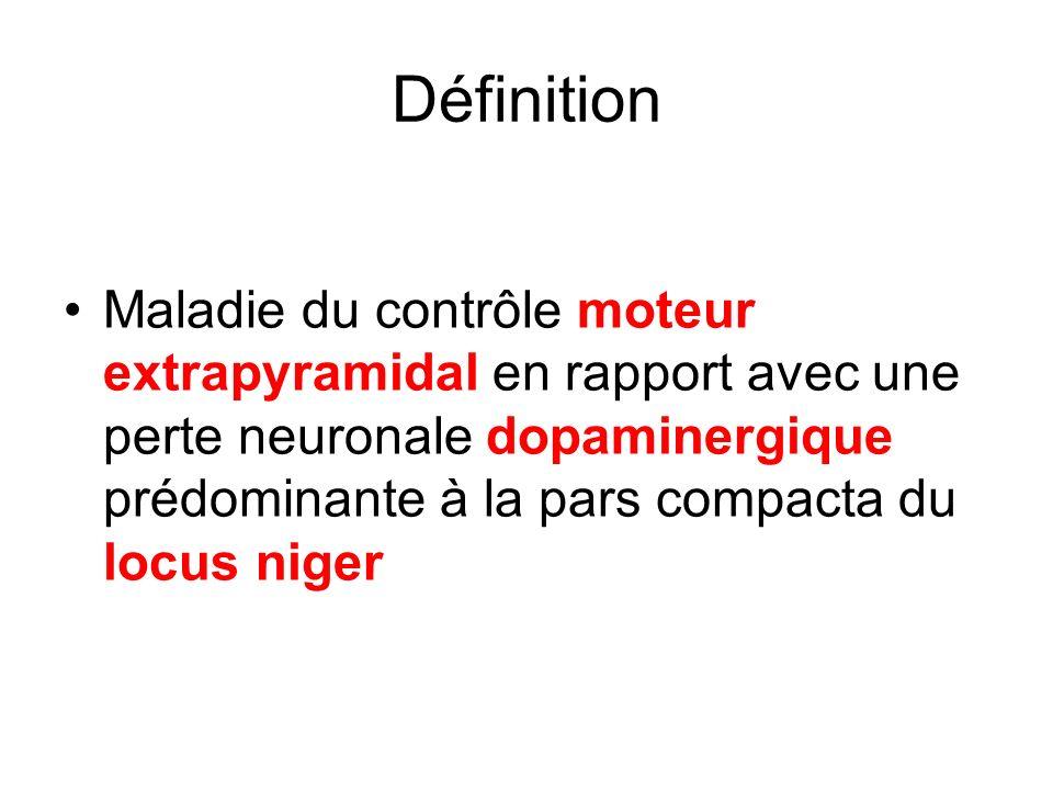 Définition Maladie du contrôle moteur extrapyramidal en rapport avec une perte neuronale dopaminergique prédominante à la pars compacta du locus niger