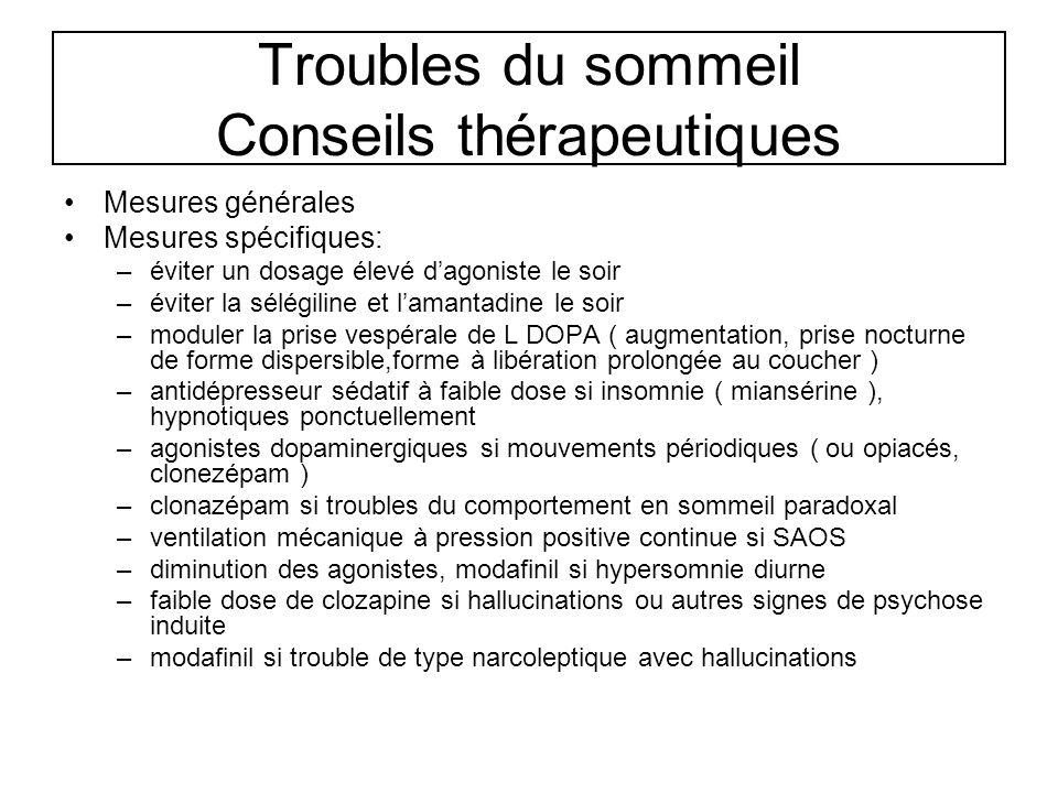 Troubles du sommeil Conseils thérapeutiques Mesures générales Mesures spécifiques: –éviter un dosage élevé dagoniste le soir –éviter la sélégiline et